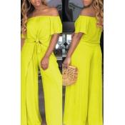 Lovely Euramerican Dew Shoulder Side Slit Yellow Two-piece Pants Set