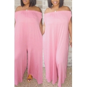 Lovely Euramerican Dew Shoulder Pink One-piece Jumpsuit