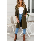 Lovely Casual Long Sleeves Kick Pleat Olive Trench