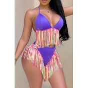 Lovely Euramerican Patchwork Tassel Fringed    Purple Milk Fiber  Two-piece Swimwear