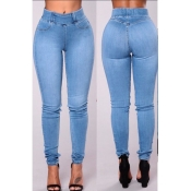 Lovely Casual High Waist Baby Blue Jeans