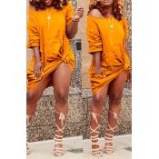 Lovely Casual Knot Design Yellow Blending Knee Length  Dress