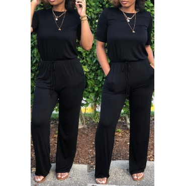 Lovely Euramerican  Lace-up Black One-piece Jumpsuit