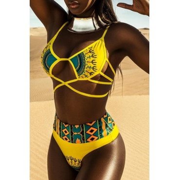 Lovely Euramerican Printed Hollow-out Yellow Two-piece Swimwear
