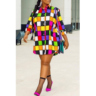Lovely Casual Plaids Patchwork Multicolor Mini Shirt Dress