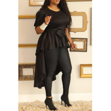 Lovely  Casual   Irregular Hems Black  Blouses&Shirts