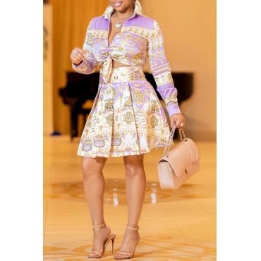 LovelyTrendy  Printed Drape Design Purple  Two-piece Skirts Set