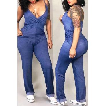 Lovely Euramerican Deep V Neck Blue One-piece Jumpsuit