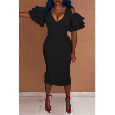 Lovely Trendy Flounces Sheath  Black Mid Calf Dress