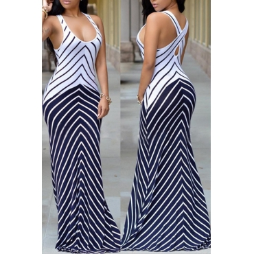Lovely Casual Striped Multicolor Floor Length Dress