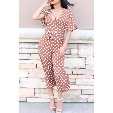 Lovely Euramerican Dots Printed Coffee  One-piece Jumpsuit