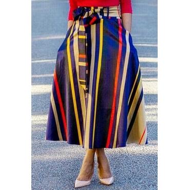 Lovely Euramerican  Striped  Multicolor Ankle Length Skirts