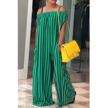 Lovely Casual Striped Loose Green  One-piece Jumpsuit