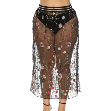 Lovely Fashion See-though  Embroidered Design Black Ankle Length  Skirts