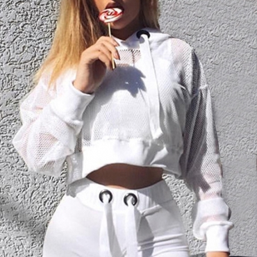 Lovely Casual See-through Fishing Net Short White Hoodies