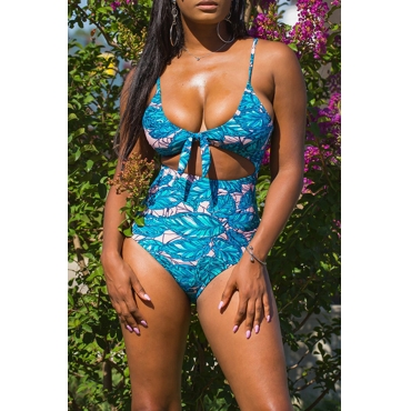 Lovely Casual Floral Printed Multicolor Milk Fiber One-piece Swimwear