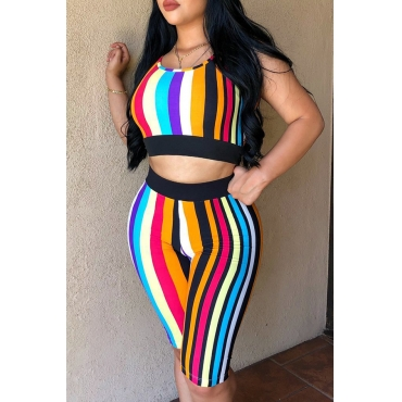 Lovely Fashion Striped Printed Black Two-piece Shorts Set