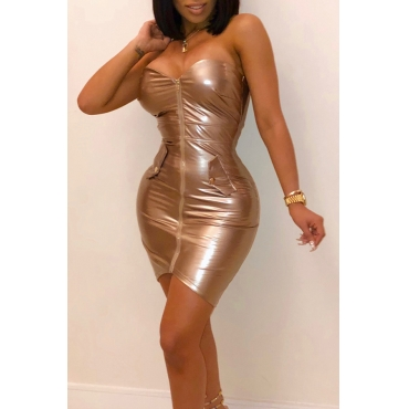 Lovely Sexy Zipper Design Sheath Golden PU Mini Dress