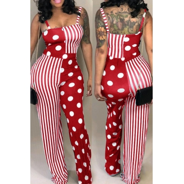 Lovely Casual Dots Printed Striped Red  One-piece Jumpsuit