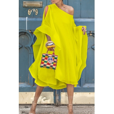 Lovely Sweet Bat-wing Sleeves Asymmetrical Yellow Chiffon Mid Calf Dress