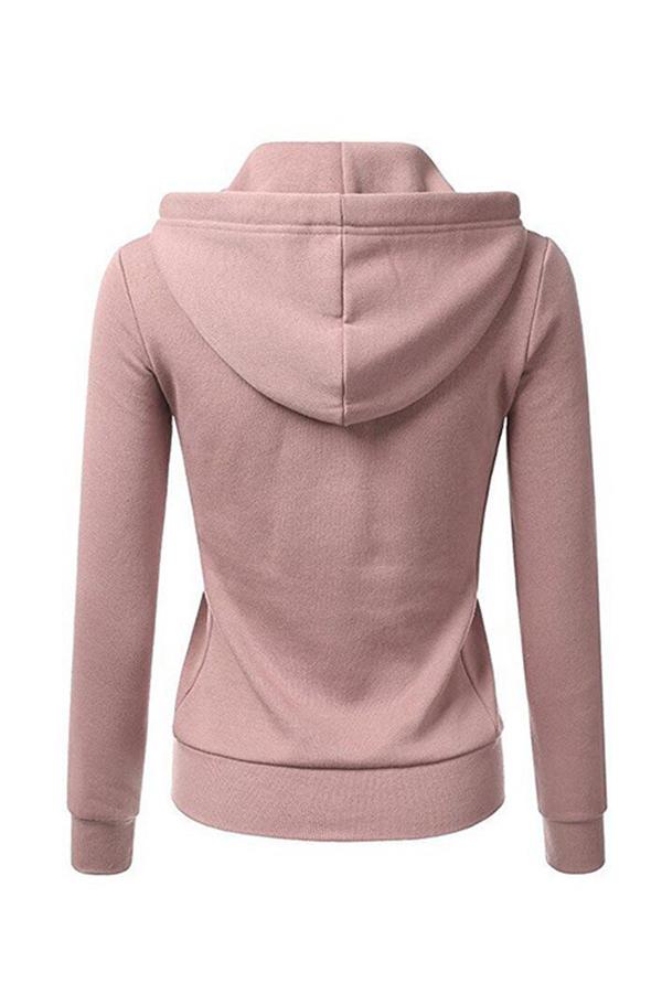 Lovely Casual Zipper Design Pink Hoodies