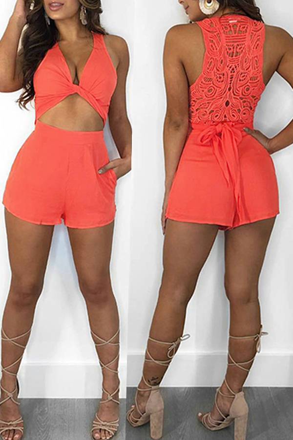 Lovely  Euramerican  Hollowed-out Patchwork Orange One-piece Rompers