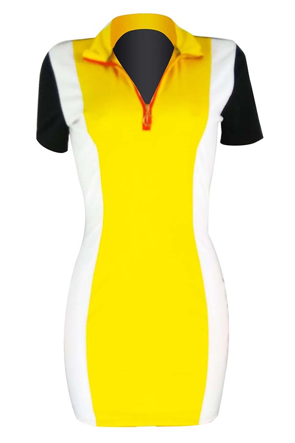 Lovely Euramerican Color Patchwork Yellow Twilled Satin Mini Dress