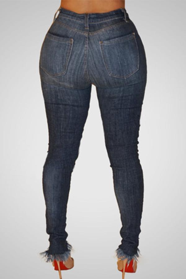 Bei Jeans Denim Blu Scuro A Vita Alta Alla Moda