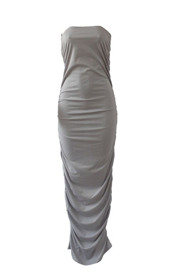 Lovely Casual Dew Shoulder Sheath Grey Cotton Blends Floor Length  Dress