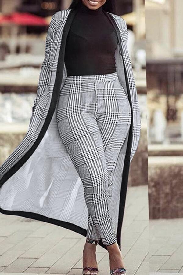 Encantadora Cuadrícula Informal Impresa En Gris Que Hace Punto Conjunto De Pantalones De Dos Piezas (sin Camiseta)