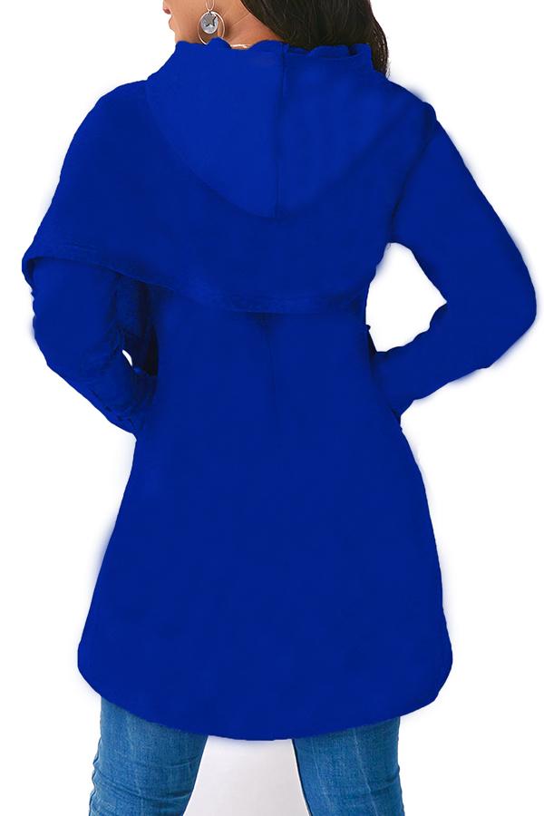 Lovely Casual Asymmetrical Blue Long Hoodies