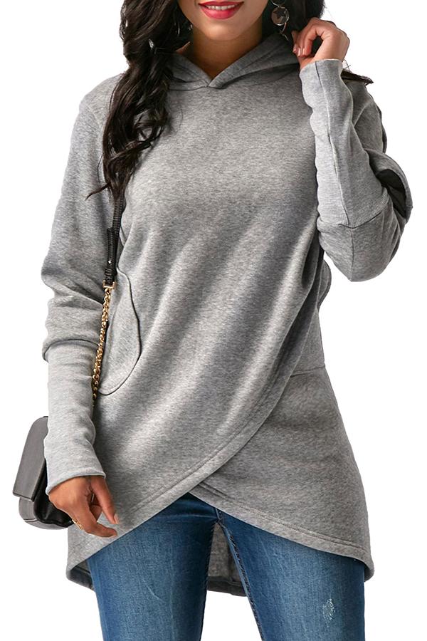 Lovely  Casual Asymmetrical  Grey Long Hoodies