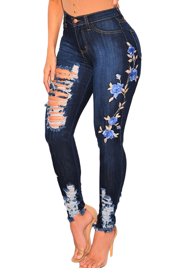 Lovely Casual Embroidered Design Deep Blue Jeans