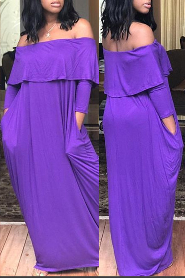 Lovely  Casual Dew Shoulder Loose Purple Floor Length Dress