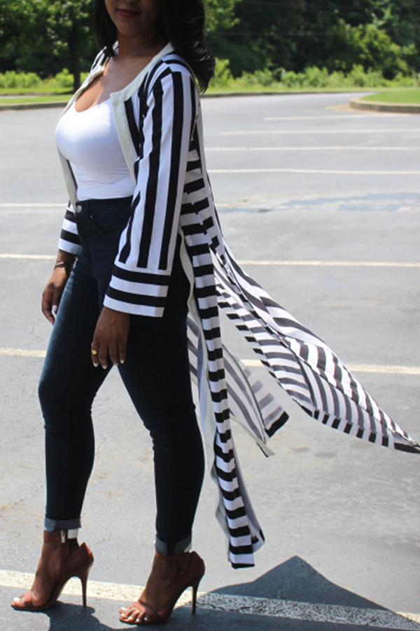 Lovely Casual Striped Long Multicolor Coat