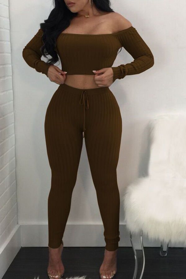 Lovely Euramerican Dew Shoulder Coffee Cotton Two-piece Pants Set