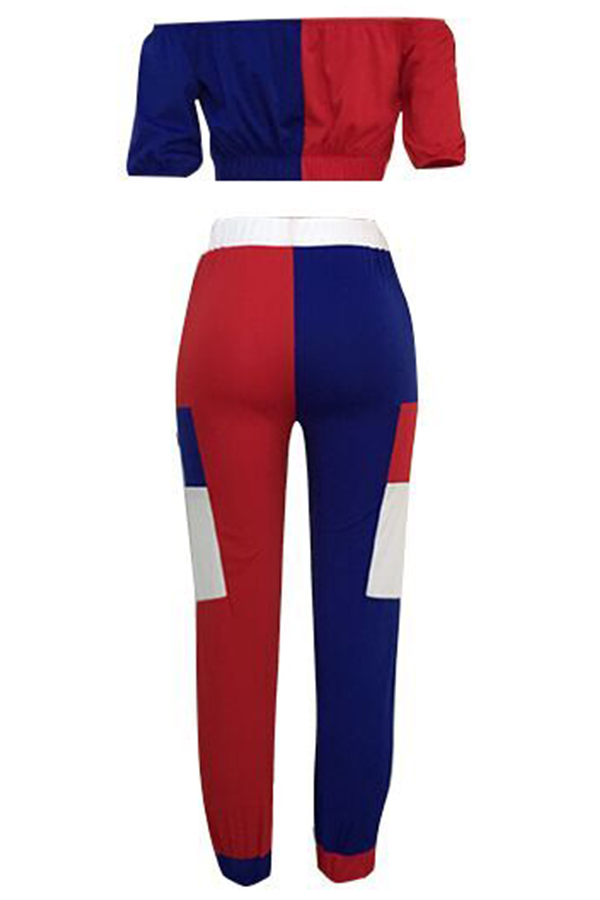 Lovely Fashion Patchwork Red Blending Two-piece Pants Set