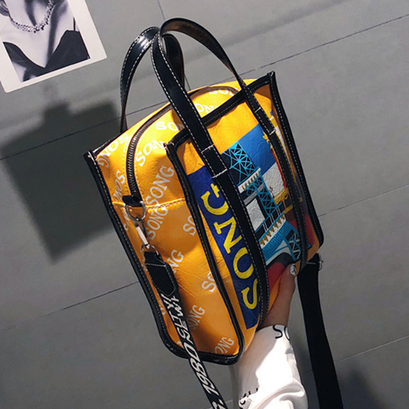 Lovely Fashion  Printed Yellow Patent Leather Shoulder Bags