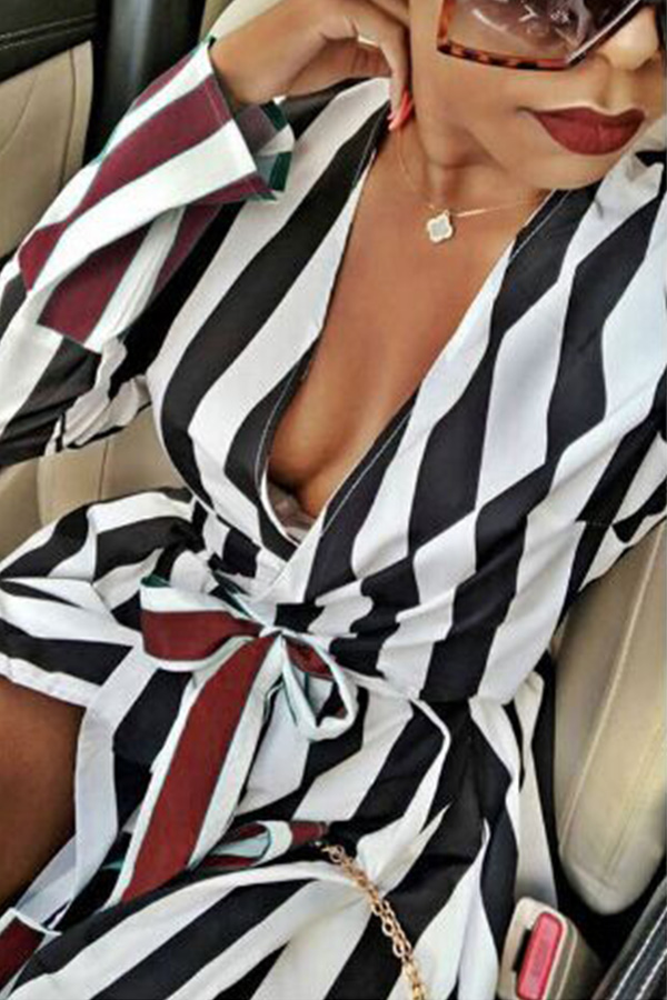Lovely Casual Striped Patchwork Black Floor Length Dress
