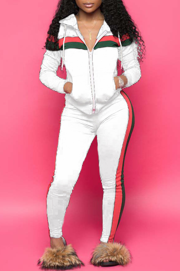 Lovely Casual Striped  Hooded Collar White Blending Two-piece Pants Set