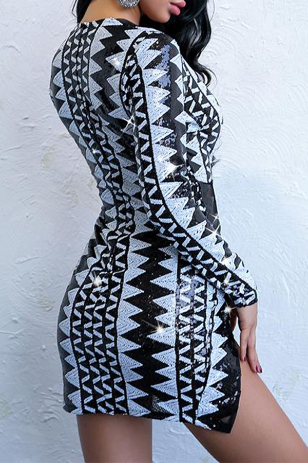 Lovely Sexy Party Geometric Printed Black Mini Dress