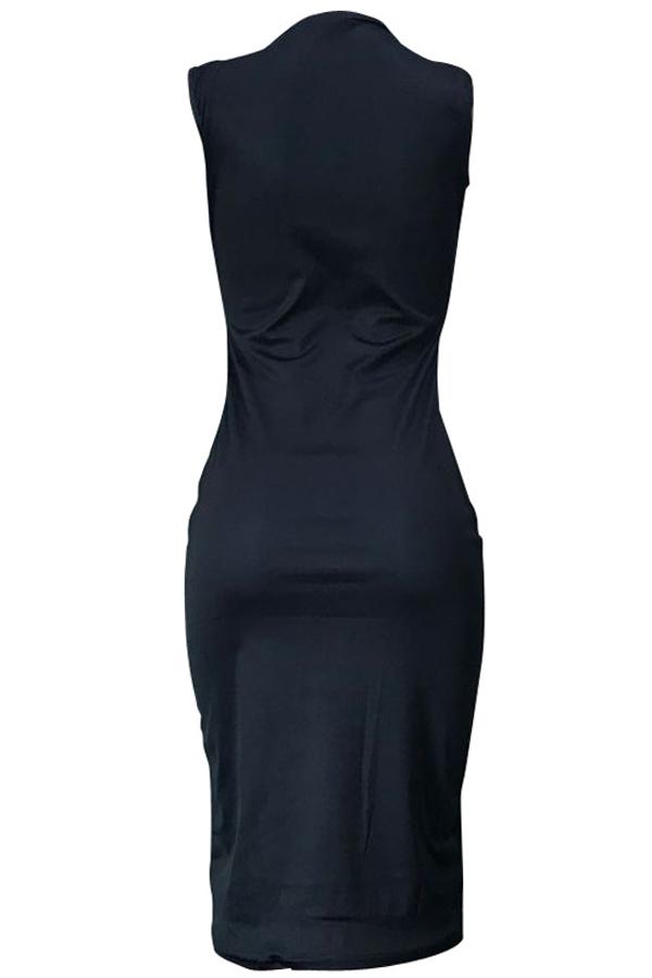 Lovely Euramerican Letters Printed Black Twilled Satin Knee Length Dress