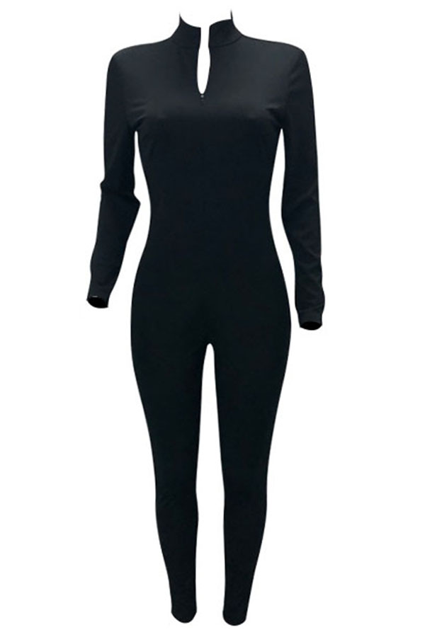 Lovely Trendy V Neck Zipper Design Black  One-piece Jumpsuit
