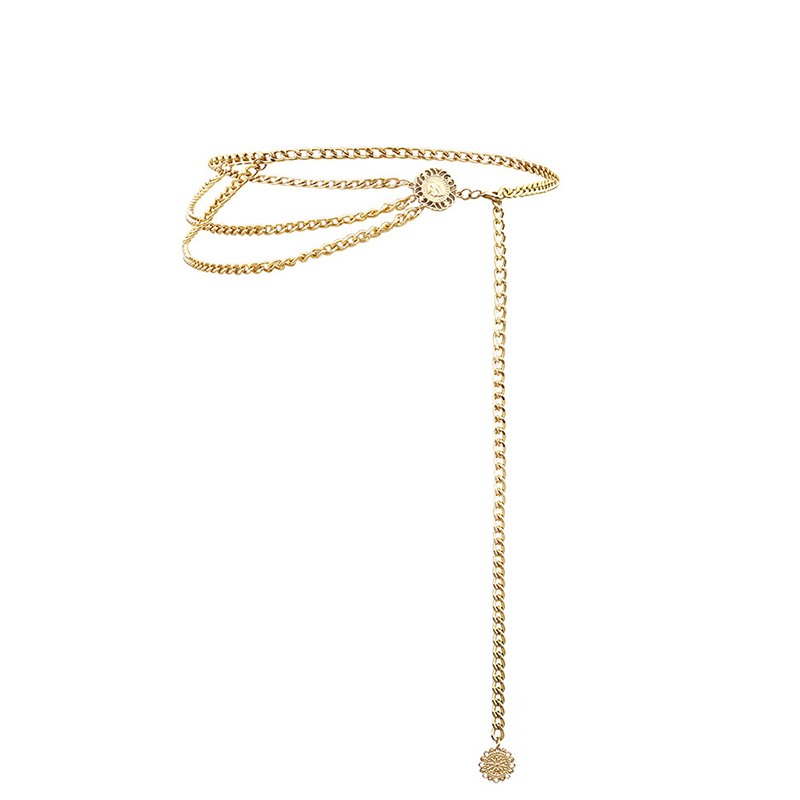 Lovely Euramerican Layered Gold Metal Body Chain