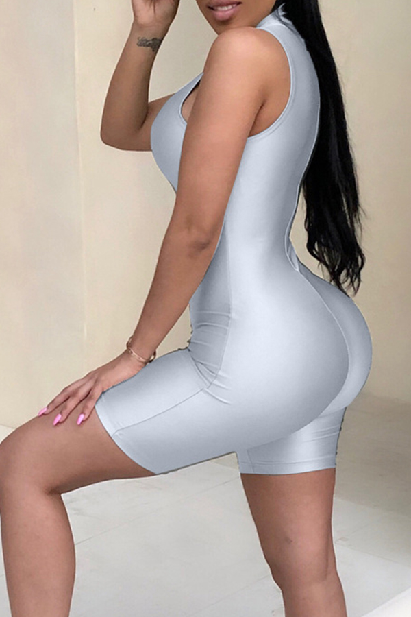 Lovely Fashion Skinny Silver  One-piece Rompers