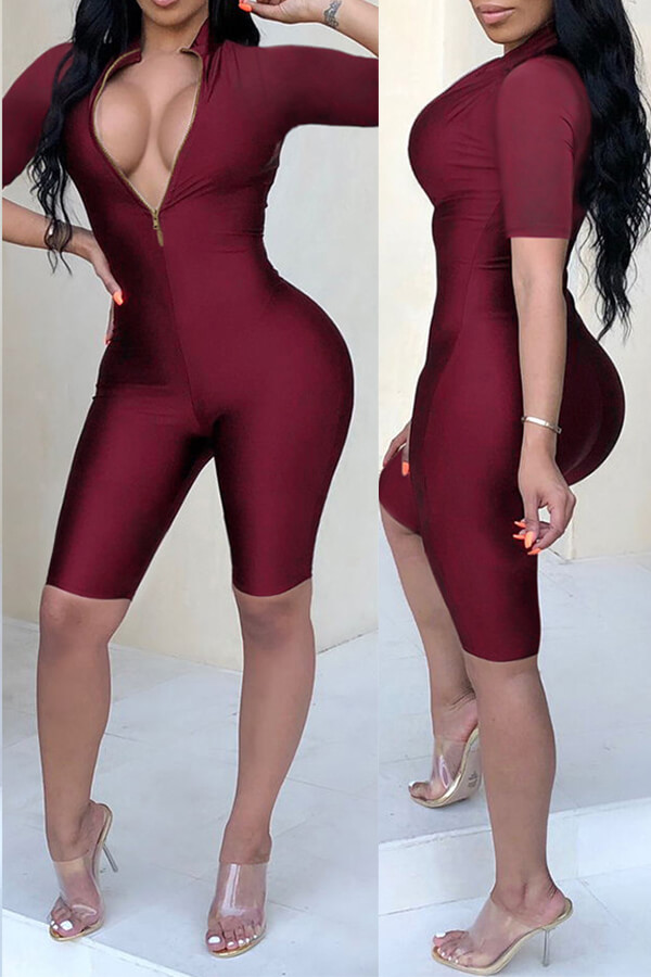 Lovely Casual Zippers Design Skinny Wine Red One-piece Romper