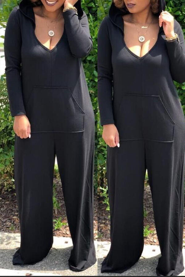 Lovely Casual Hooded Collar Loose Black One-piece Jumpsuit