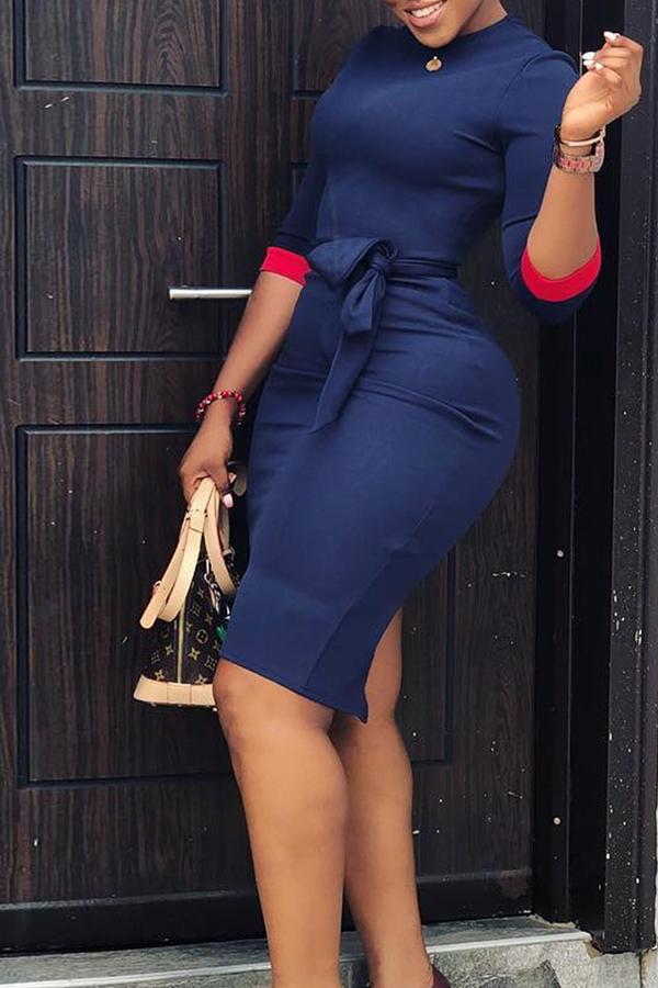 lovelywholesale / Lovely Casual Patchwork Slim Dark Blue Knee Length Dress