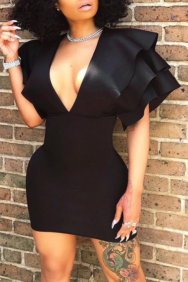 Lovely Euramerican Cascading Ruffle Party Black Mini Dress
