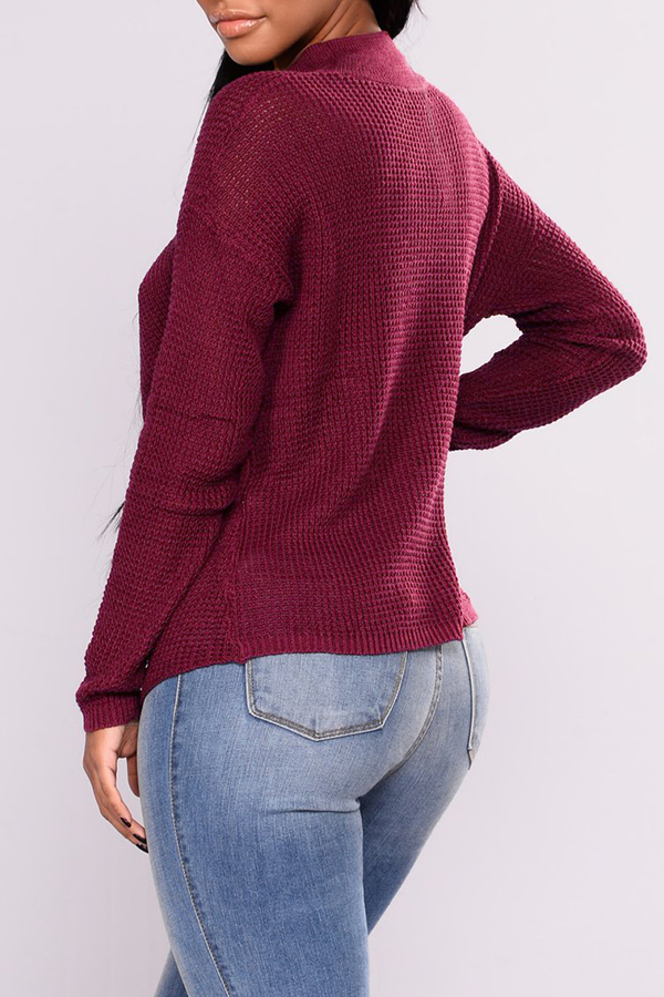 Lovely Casual Cross-over Design Purplish Red Sweaters